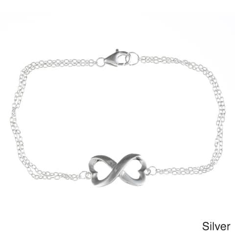 La Preciosa Sterling Silver Heart Design Infinity Bracelet