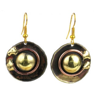 Circle Within Earrings Handmade in Copper and Brass (South Africa)