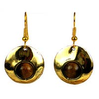 Handmade Bonbon Gold Tigers Eye Dangle Earrings (South Africa)