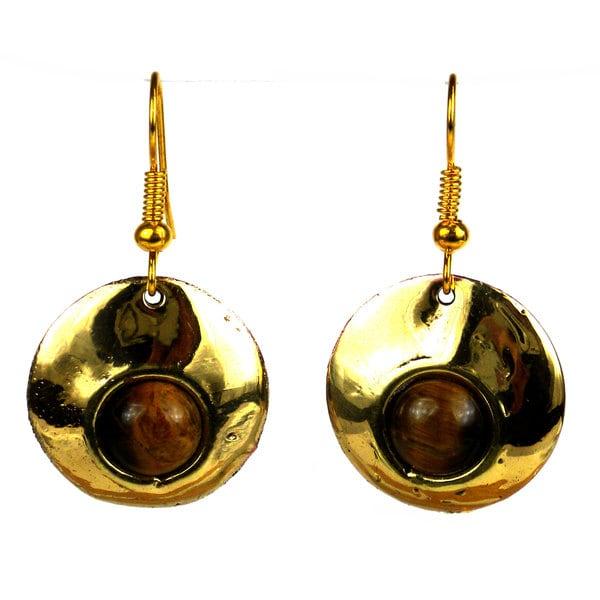 Handmade Bonbon Gold Tigers Eye Dangle Earrings (South Africa)