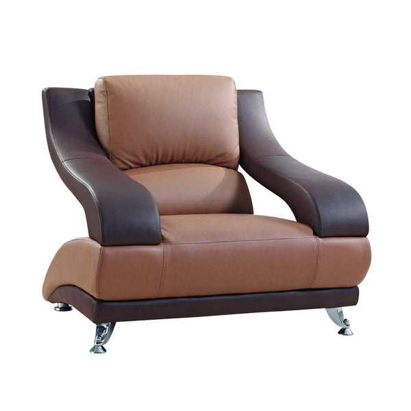 Two-tone Brown Bonded Leather Chair