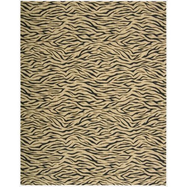 Cosmopolitan Beige Tiger Print Wool Rug - 8'3 x 11'3