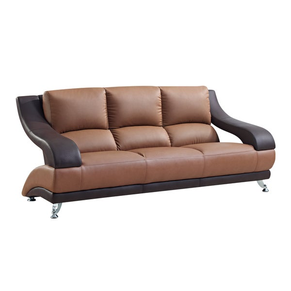 Two-Tone Brown Bonded Leather Sofa - Free Shipping Today