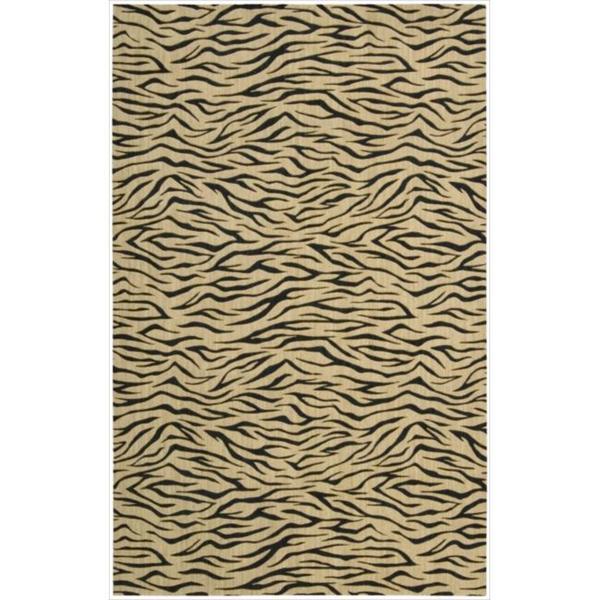 Cosmopolitan Beige Tiger Print Wool Rug - 5'3 x 8'3