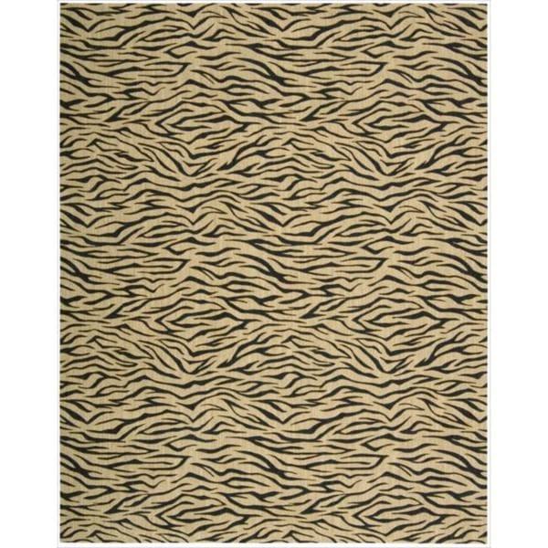 Cosmopolitan Beige Tiger Print Wool Rug - 7'6 x 9'6
