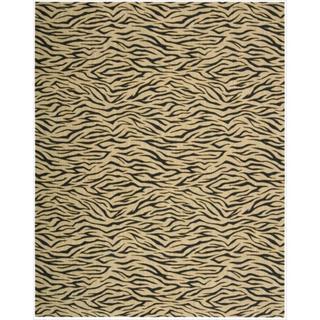 Cosmopolitan Beige Tiger Print Wool Rug (7'6 x 9'6)