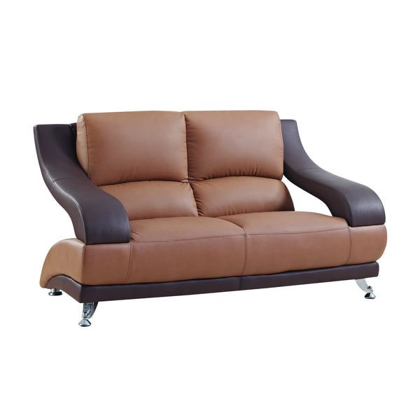 Brown bonded leather loveseat free shipping today for Home goods loveseat