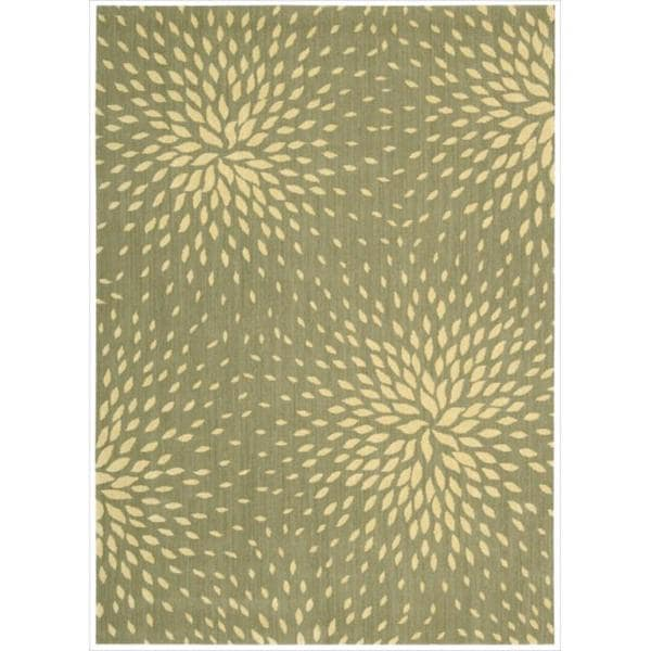Capri Light Green Wool-blend Rug (9'6 x 13')