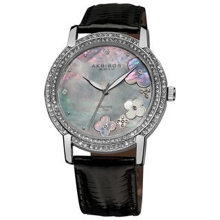 Akribos XXIV Women's Flower Diamond Accent Watch with Black Strap