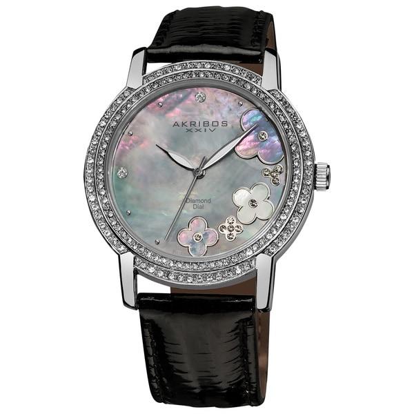 Akribos XXIV Women's Flower Diamond Accent Watch with Black Strap