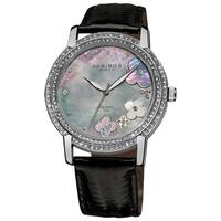 Akribos XXIV Women's Flower Diamond Accent Watch with Black Strap with FREE Bangle
