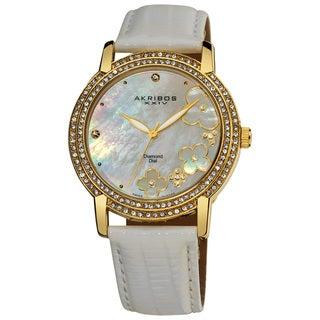 Akribos XXIV Women's Flower Diamond Accent Gold-Tone Watch