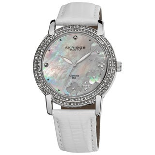 Akribos XXIV Women's Flower Diamond Accent Watch with White Silver-Tone Strap