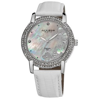 Akribos XXIV Women's Flower Diamond Accent Watch with White Silver-Tone Strap