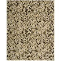 Cosmopolitan Beige Tiger Print Wool Rug - 3'6 x 5'6