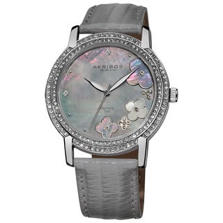 Akribos XXIV Women's Flower Diamond Accent Watch with Gray Strap with GIFT BOX - Silver