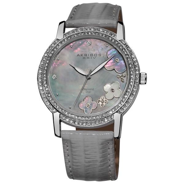 Akribos XXIV Women's Flower Diamond Accent Watch with Gray Strap - Silver