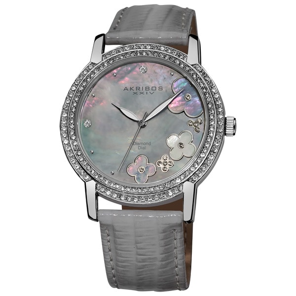 Akribos XXIV Women's Flower Diamond Accent Watch with Gray Strap with FREE GIFT - Silver
