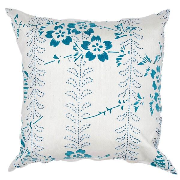 Contemporary Poly Dupione Blue Square Throw Pillows (Set of 2)