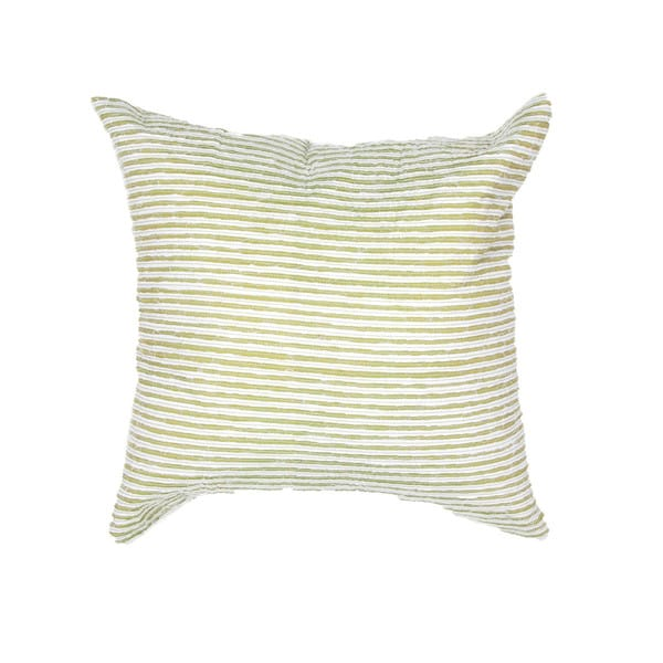 Contemporary Poly Dupione Green Stripe Square Pillows (Set of 2)