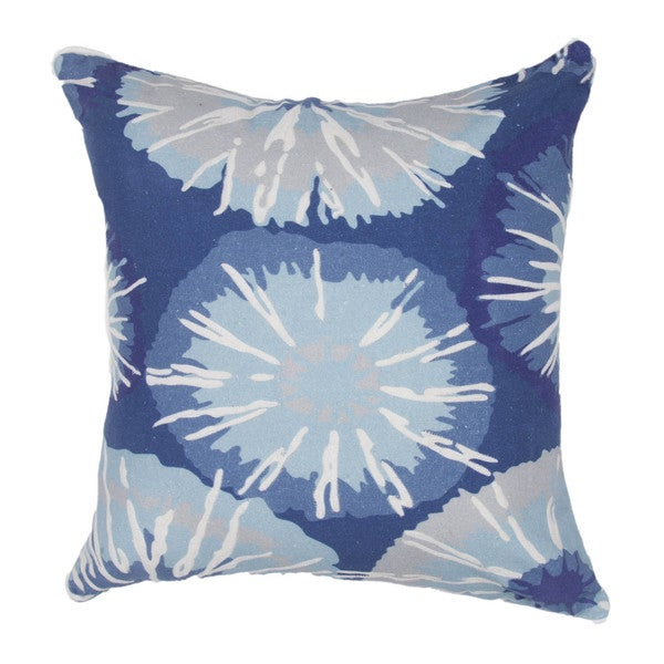Contemporary Duck Canvas Blue Abstract Square Pillows (Set of 2)
