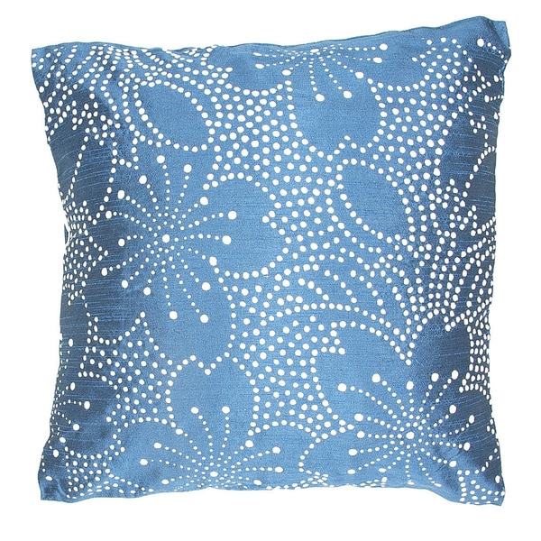 Contemporary Poly Dupione Blue/ White Square Pillows (Set of 2)