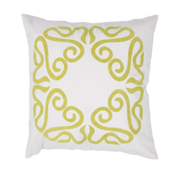 Contemporary Cotton Ivory/ Green Square Pillows (Set of 2)