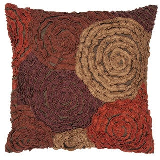 Contemporary Red/Orange Textured Square Pillows (Set of Two)