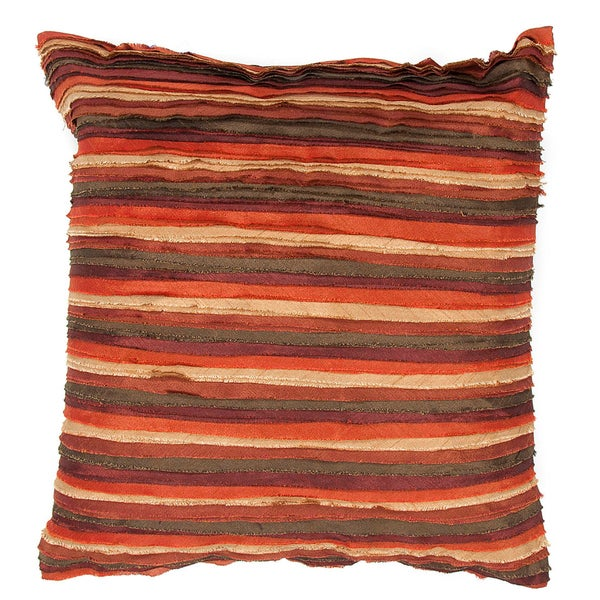Contemporary Ruffled Red/Orange Square Pillows (Set of 2)
