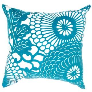 Contemporary Poly Dupione Blue Square Pillows (Set of 2)