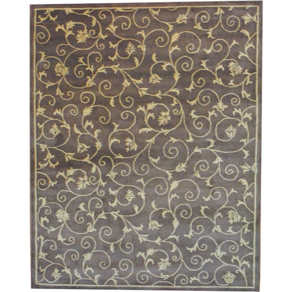 Shop Beige Wool Hand Knotted Oriental Persian Area Rug 6: Shop Herat Oriental Indo Tibetan Hand-tufted Light Brown