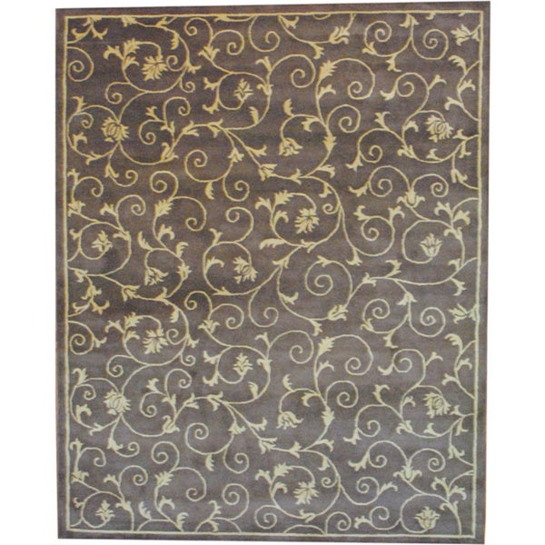 Herat Oriental Indo Tibetan Hand-tufted Light Brown/ Beige Wool Area Rug (8' x 10')