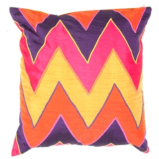 Shop Red Orange Chevron Print Square Pillows 2 Free