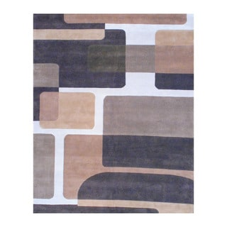 Herat Oriental Indo Tibetan Hand-tufted Brown/ Ivory Wool Area Rug (8' x 10')