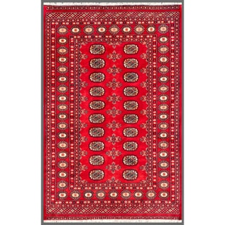 Herat Oriental Pakistani Hand-knotted Bokhara Red/ Ivory Wool Rug (4' x 6'2)