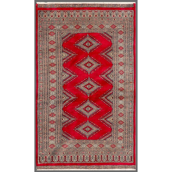 Pakistani Hand-knotted Bokhara Red/ Beige Wool Rug (3' x 5'1)