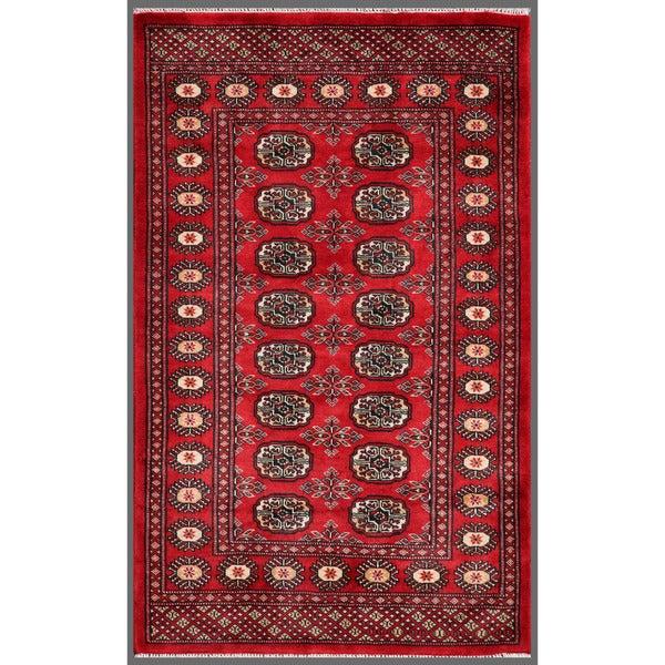 Herat Oriental Pakistani Hand-knotted Bokhara Red/ Ivory Wool Rug (3'1 x 5'1)