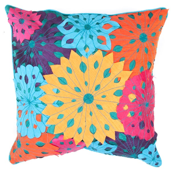 Contemporary Multi-color Square Highly-Textural Pillows (Set of 2)