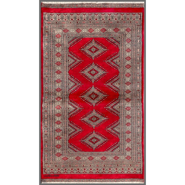 Pakistani Hand-knotted Bokhara Red/ Beige Wool Rug (3'1 x 5'3)