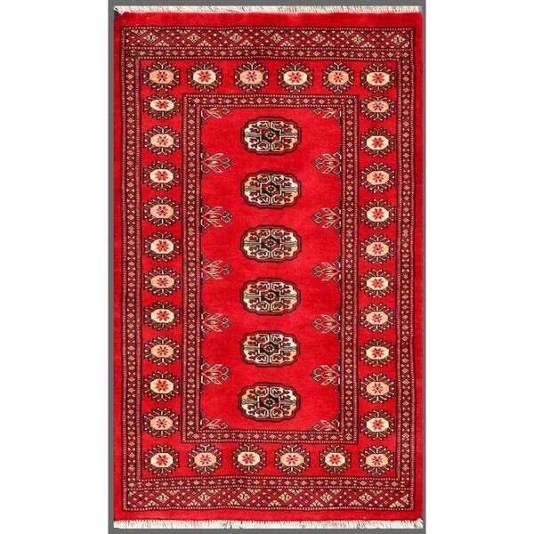 Handmade Herat Oriental Pakistani Bokhara Wool Rug - 2'6 x 4'1 (Pakistan)