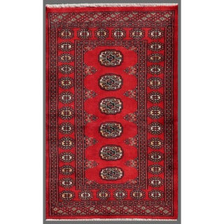 Herat Oriental Pakistani Hand-knotted Bokhara Red/ Ivory Wool Rug (2'6 x 4')