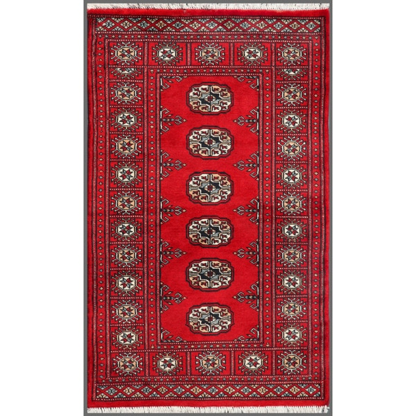 Pakistani Hand-knotted Bokhara Red/ Ivory Wool Rug (2'5 x 4'1)