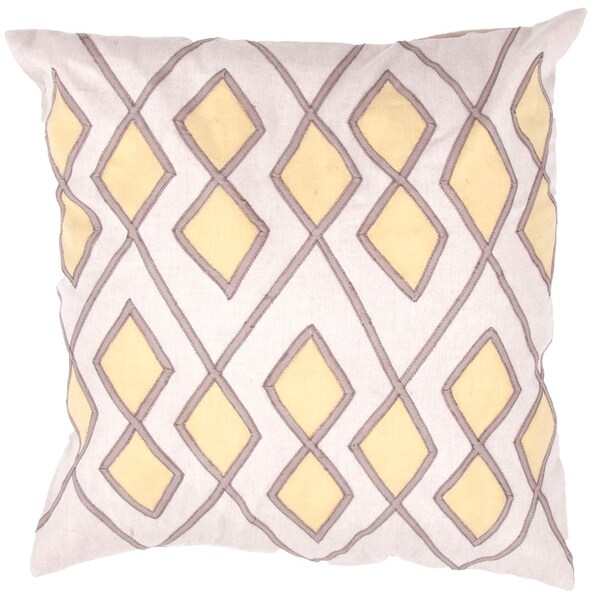Ivory/ White Chambray Synthetic Square Pillows (Set of 2)