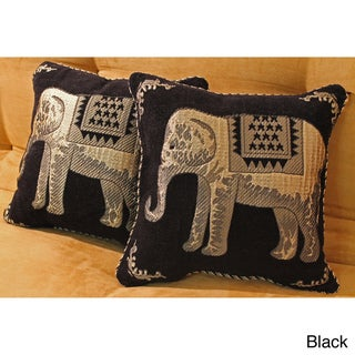 Blazing Needles Chenille Corded Elephants Throw Pillows (Set of 2)