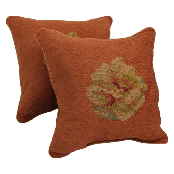 Blazing Needles Chenille Corded Rose Throw Pillows (Set of 2)