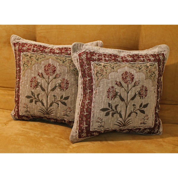Blazing Needles Tapestry Corded Rustic Bouquet Throw Pillows (Set of 2)