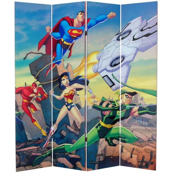 6-Foot Tall Double Sided Justice League Canvas Room Divider