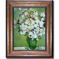 Vincent Van Gogh 'Vase of Roses' Framed Canvas Art