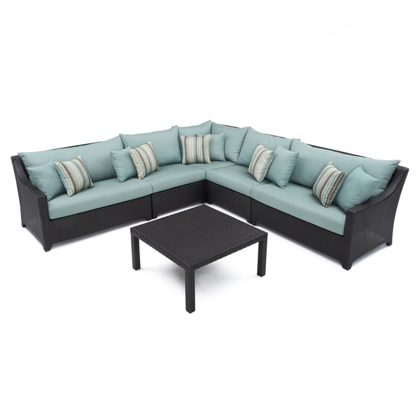 RST Brands Bliss 6 Piece Corner Sectional Sofa And Coffee Table Patio  Furniture Set