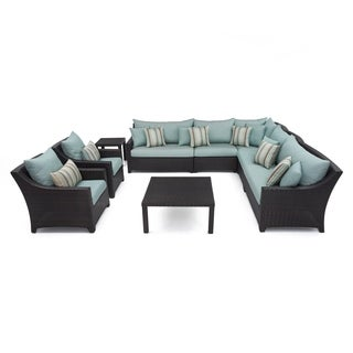 RST Brands Bliss 9-piece Corner Sectional Sofa and Club Chairs Patio Set